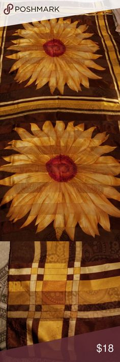 Vintage Sunflower scarf Gold sunflower in the center of the scarf with a deep rust and maroon color center on a mahogany background and golden stripes around the edge. Measures 38 x 38. Can be used as scarf, belt, tapestry, head wrap etc. Accessories Scarves & Wraps