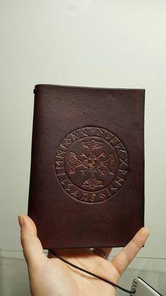 Handmade norse viking rune Thor leather Journal notebook midori style refillable