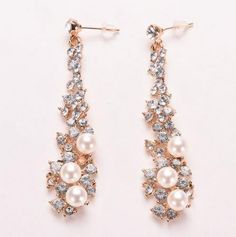 1Pair Women Fashion Summer style Brincos Full Crystal Pearls Gold Filled Long Drop Earrings For Women Evening Fine Jewelery -- To view further for this item, visit the image link.