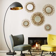 I have a floor lamp similar to this. Just need the lamp shade. The Arc Black & Gold Metal Floor Lamp. inspiration for my floor lamp Curved Floor Lamp, Arc Floor Lamps, Black Floor Lamp, Cool Floor Lamps, Metal Floor, Arc Lamp, Contemporary Floor Lamps, Modern Floor Lamps, Modern Lighting