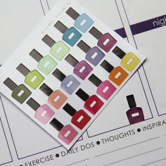 So cute! -18 MINI Nail Polish Die-Cut Stickers // (Perfect for Erin Condren Life Planners)