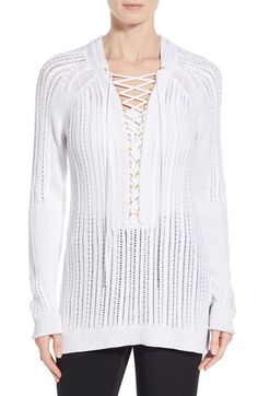 Kobi Halperin 'Daria' Lace Up Textured V-Neck Sweater available at #Nordstrom