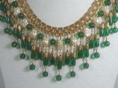 VTG Miriam Haskell Drip BIB Necklace Baroque Pearls & Green Glass Beads