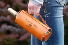 Leather Wine Bottle Carrier, 'Cause Holding a Bottle is For Chumps