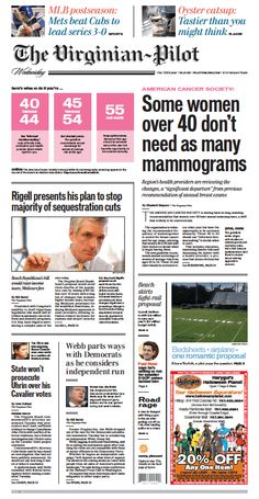 The Virginian-Pilot's front page for Wednesday, Oct. 21, 2015.