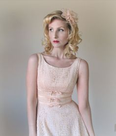 1950's Lace Dress, Blush, Pink, WEDDING, Pin Up, BRIDESMAID, Swing, BOMBSHELL, Sundress