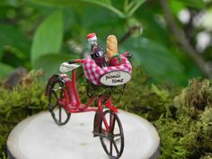 Fairy Garden accessories  bike bicycle for terrarium or miniature garden picnic time