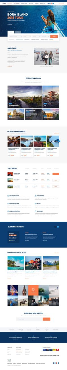 Onne is clean and modern design multipurpose #PSD template for #travel agency website with 21+ niche #homepage layouts and 54 layered PSD files to live preview & download click on Visit