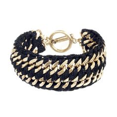 """So many to choose from, create your own Arm Party! Mix and Match!    Wide Ribbon Chain Bracelet  $58.00 / Item # B107BK    Hand-woven black metallic ribbon on a double wide flat curb chain with c+i toggle closure.        worn gold-plated      nickel-free      7.5"""" length      c+i signature toggle closure      black metallic"""