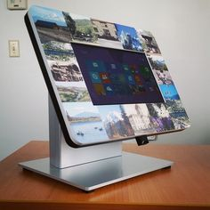 Bezel graphic head for a Microsoft Surface Pro countertop kiosk - this one comes with a built-in barcode scanner!