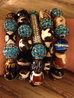 5 Bracelet Stack with large agate stones and crystal pave pieces. $74.00, via Etsy.