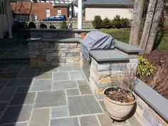 pergoli outdoor kitchen fire pit and tree | Bluestone Patio, Outdoor Kitchen, Pergola and Fire Pit