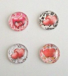 4 Handmade 'Valentine/Love Hearts' Glass Picture Cabochons 20mm - Round