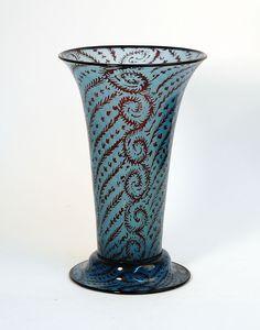 @@ Simon Gate (Swedish, 1883-1945), Orrefors, Graal Glass Vase.
