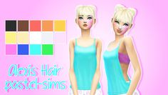 "pastel-sims: "" Alexis Hair! ♥ New Hair Mesh!!! ♥ :) • Disabled for random. • Recoloring/Retexturing/Converting allowed (Please give me credit and tag me!) • Comes in base game colors. • Female teen -..."