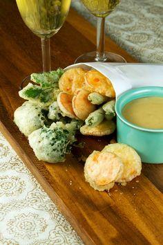 Crispy Tempura Vegetables with Miso-Mustard #vegan | http://saltandwind.com