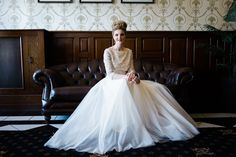 Sequin embroidered bodice with tulle layered full skirt, by Christine Trewinnard.