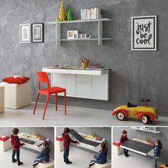 Modern Wall Mounted Desk Ideas - The Urban Interior Desk Wall Unit, Wall Mounted Desk, Home Office Furniture, Home Office Decor, Shelves Above Desk, Ikea Co, Minimalist Computer Desk, Desk Styling, Small Coffee Table