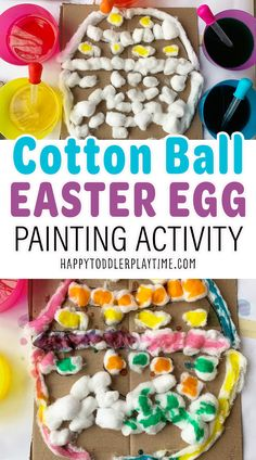 Cotton Ball Easter Egg Painting Craft - HAPPY TODDLER PLAYTIME Easter Activities, Spring Activities, Craft Activities For Kids, Toddler Activities, Motor Activities, Indoor Activities, Toddler Preschool, Toddler Crafts, Toddler Learning