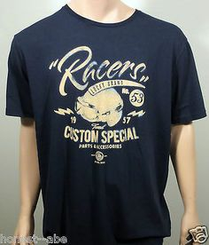 Lucky Brand ~ Racers Custom Special Distress Graphic Navy Blue T Shirt ~ Brand New