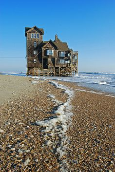 """Abandoned House by the Sea. House at Rodanthe has been moved and turned into """"Inn of Rodanthe"""". It's been restored as close as possible to the movie Inn in the movie """"Nights at Rodanthe"""". Abandoned Buildings, Abandoned Mansions, Old Buildings, Abandoned Places, Abandoned Castles, Haunted Places, Old Houses, Beautiful Places, House Beautiful"""
