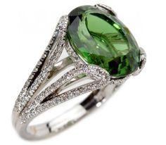 Mark Patterson Green Tourmaline and Diamond Ring.