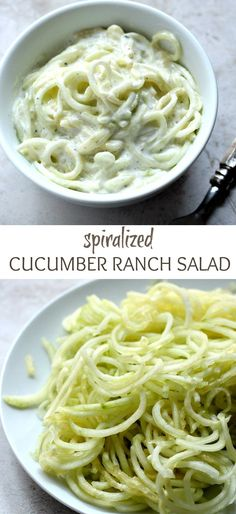 Spiralized Cucumber Ranch Salad - refreshing side dish with cucumber and creamy ranch dressing. Quick and delicious!