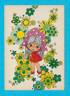 Vintage postcard 70s. Cute doll between retro by bluumievintage, $4.75