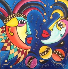 """Original acrylic painting 48""""x48"""" abstract faces, # intuitivepainting # art #…"""