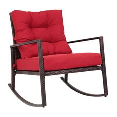 Kinbor Rattan Rocker Chair Outdoor Garden Rocking Chair Wicker Lounge w/Red Cushion Rocking Chair Cushions, Outdoor Rocking Chairs, Red Cushions, Old Chairs, Cafe Chairs, Desk Chairs, Adirondack Chair Plans, Patio Furniture Covers, Outdoor Furniture