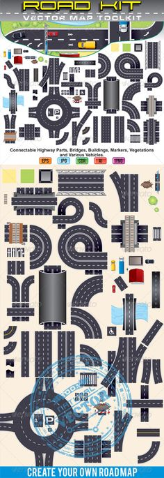 Top View Position by PILart Modern Highway Map Toolkit. Pack Include: Connectable Road Elements, Bridges, Buildings, Markers and Various Ve Paper Toys, Paper Crafts, Highway Map, Car Illustration, Model Train Layouts, Paper Houses, Paper Models, Model Trains, Top View
