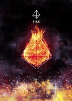 Fire Element and it's Sacred Geometric Symbol ~ Tetrahedron 4 Faces Equilateral Triangles by esther