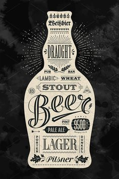 Poster bottle of beer with hand drawn lettering. Vintage drawing for pub, bar menu, beer card, t-shirt print and beer themes. Isolated black bottle of beer with lettering. Molecule Tattoo, Beer Bar, Pub Bar, Hand Drawn Lettering, Vintage Drawing, Bar Menu, Menu Cards, Chalkboard Art, Bottle Art
