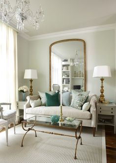 mirror, wall colors, sarah richardson, interior, coffee tables, living rooms, hous, small spaces, live room