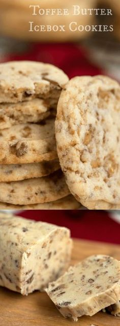 just six ingredients away from these glorious, melt in your mouth, Toffee Butter Icebox Cookies! Deliciously buttery and perfectly rich, this easy cookie recipe is the perfect dessert for any day! // Mom On Timeout Freezable Cookies, Easy Cookie Recipes, Cookie Desserts, Yummy Cookies, Just Desserts, Sweet Recipes, Baking Recipes, Dessert Recipes, Freezer Cookies