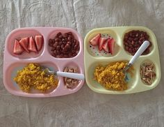 Today's dinner for the kids! Strawberries for both, pink beans cooked with some chicken broth and parsley, yellow rice and grilled chicken. A and V both ate everything. #toddlermeals #toddlermealideas #blw #blwideas #babyledweaning #dinnertime #twogoodeaters #creatinggoodeatinghabits #whatifeedmykid #whatmykideats #feedthebelly #18monthsold #teenytinymeals