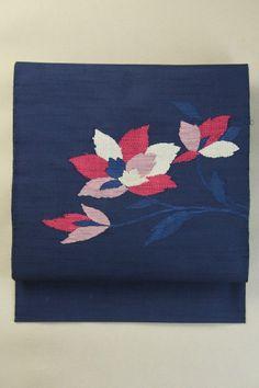 Navy Nagoya Obi (Otaiko Hassun), Weaved Casual Pattern / 紺地 織りのカジュアル花柄 お太鼓柄八寸名古屋帯   #Kimono #Japan http://www.rakuten.co.jp/aiyama