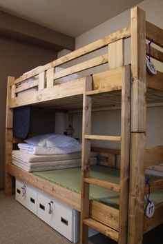 each bed has locker and reading light.