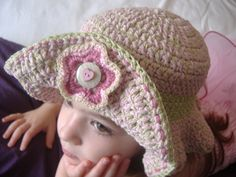 Free Crochet Adorable Ruffles Hat Pattern.