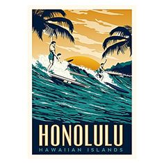 Give nostalgic surfie vibes to your home with the colour and wash of blues within the Honolulu Print Art from Americanflat.