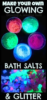 To make Bath Salts that GLOW you only need two things: Sea salt or epsom salt Fluorescent or glow in the dark paint In a small bowl simply add a bit of the glowing paint of your choice along with the salt of your choice and stir until the salt crystals are coated in the paint. Then lay the salts out to dry on a non-stick pan. You can also microwave them briefly to get them to dry faster. Once dry break up any clumped together pieces and thats it!