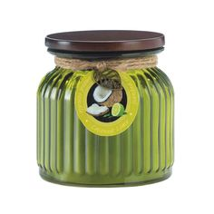 Its like a vacation in a jar! The tropical scents of coconut and lime will wrap around your room when you light this ribbed-glass jar candle. 16 oz and 100 burn
