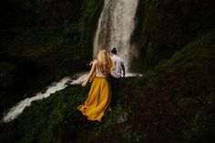 Wahkeena Falls engagement photos in the Columbia River Gorge by Katy Weaver