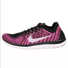 the best attitude a993a e7f07 Nike Free 4.0 Flyknit Pink Black Running Shoes Women s Nike Free 4.0 Flyknit  Pink Black Running