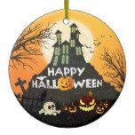 Spooky Haunted House Costume Night Sky Halloween Ceramic Ornament #halloween #happyhalloween #halloweenparty #halloweenmakeup #halloweencostume