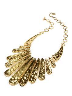 Antique Gold Hammered Bib Necklace by Amrita Singh