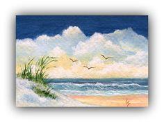 ACEO Original Art Card Beach Painting Sand by ValentineStudiosArt, $8.00
