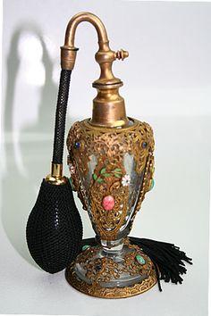 Antique Czech Filigreed Jeweled Enameled Perfume Bottle Atomizer
