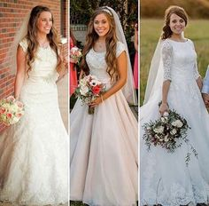 Duggar girls in their wedding dresses. Modest Wedding Dresses, Designer Wedding Dresses, Wedding Gowns, Jinger Duggar Wedding, Duggar Girls, Duggar Sisters, Wedding Pics, Dream Wedding, Thing 1