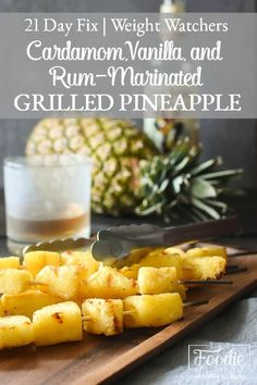 This simple rum-marinated grilled pineapple is full of flavor and a makes for a delicious healthy side dish! It's also gluten free and dairy free! Healthy Sides, Healthy Side Dishes, Side Dishes Easy, Side Dish Recipes, 21 Day Fix Desserts, 21 Day Fix Snacks, Healthy Grilling, Grilling Recipes, Cooking Recipes
